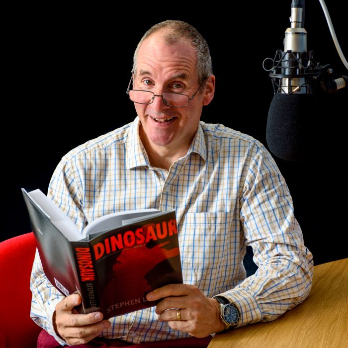Chris Barrie pictured recording the audiobook of DINOSAUR by Stephen Llewelyn