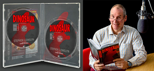 Dinosaur Audiobook by Stephen Llewelyn, pictured being read by Chris Barrie (Red Dwarf)