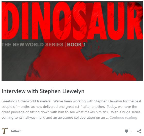 Stephen Llewelyn's interview on Tellest, showing the book cover of DINOSAUR