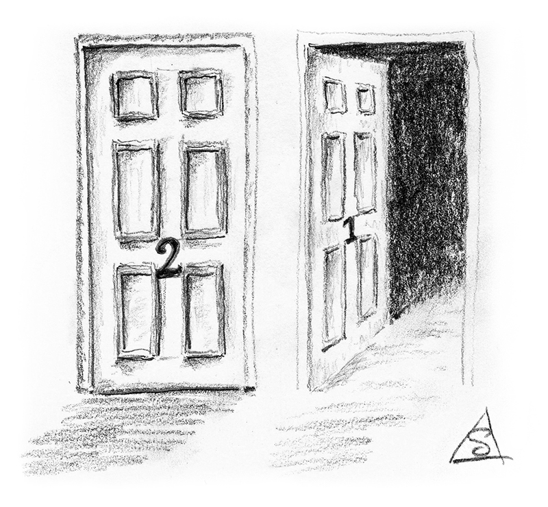 Sketch of one closed and one open door © Stephen Llewelyn. All rights reserved