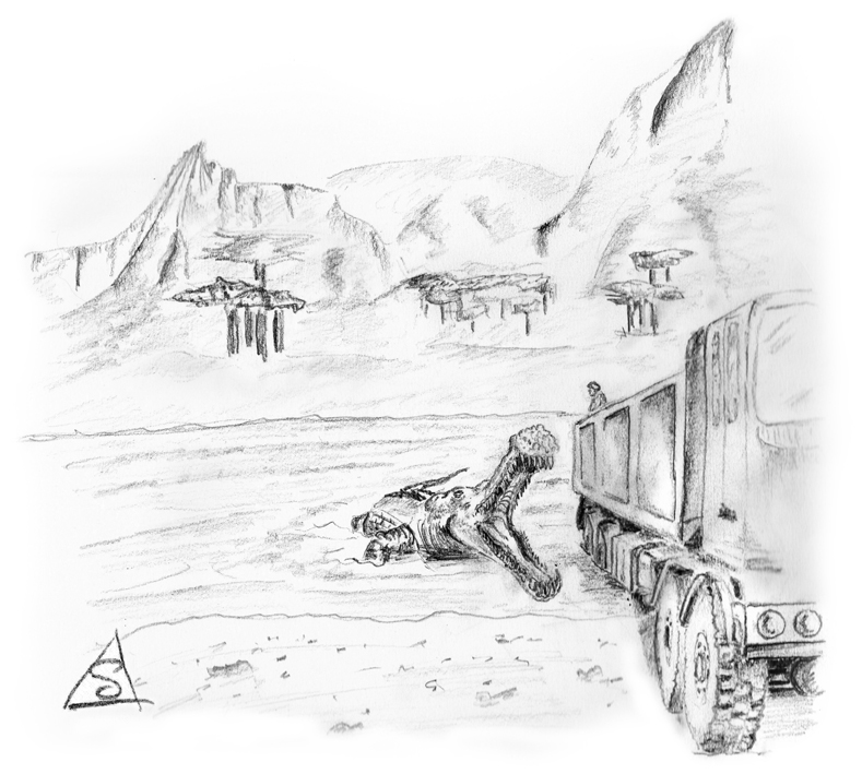 Sketch of cretaceous landscape with dinosaur attacking a vehicle. © Stephen Llewelyn